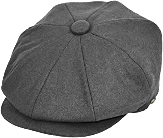 Men's Wool Newsboy Cap, Herringbone Driving Cabbie Tweed Applejack Golf Hat