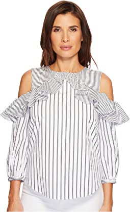 Striped Cotton Cold-Shoulder Shirt