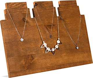 MyGift Rustic Brown Wooden Multi-Tiered Necklace Display Stand