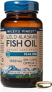 Wiley's Finest Peak EPA 1000mg EPA + DHA Omega-3 Per Softgel - High Potency Wild Alaskan Fish Oil IFOS Certified Fish Gelatin Capsules 60 Count
