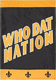 Who Dat Nation Black and Gold 18 x 13 Spun Polyester Outdoor Garden Flag