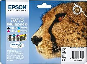 Epson T0715 - Pack cartuchos de tinta (4 colores) Stylus SX610FW, SX600FW, SX515W, SX510W, SX415, SX410, SX405, SX400, SX218, SX215, SX210, SX205, SX200, Ya disponible en Amazon Dash Replenishment