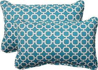 "Pillow Perfect Outdoor/Indoor Hockley Teal Lumbar Pillows, 11.5"" x 18.5"", Blue, 2 Count"