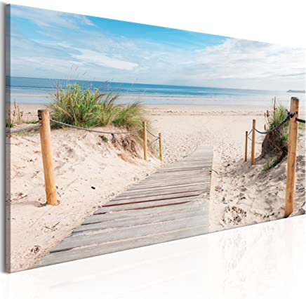 murando - Bilder Strand 135x45cm Vlies Leinwandbild 1 TLG Kunstdruck modern Wandbilder XXL Wanddekoration Design Wand Bild - Landschaft Meer c-B-0158-b-a