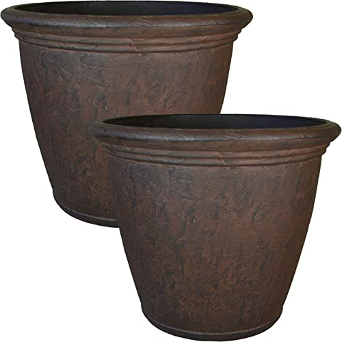 discount Sunnydaze high quality Anjelica Planter, Outdoor/Indoor Unbreakable Double-Walled Polyresin with UV-Resistant Rust Finish, Set of 2, popular 16-inch Diameter online sale