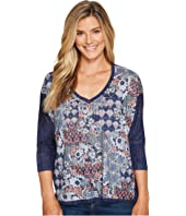 Nally & Millie - Ikat Print V-Neck Top