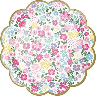 Creative Converting Floral Tea Party Scalloped Dessert Plates 8-Pieces, 7-Inch Size, Multicolour