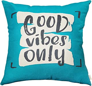 Fjfz Good Vibes Only Motivational Sign Décor Inspirational Quote Decoration Cotton Linen Home Decorative Throw Pillow Case Cushion Cover with Words for Sofa Couch, Teal and Turquoise, 18
