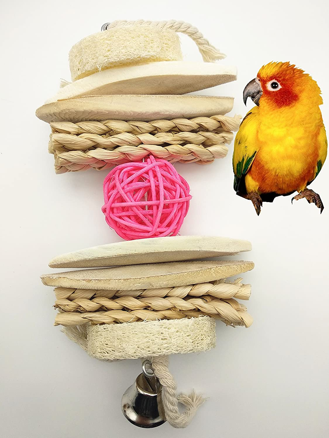 Japan's largest assortment Hypeety Bird Parrot Cuttlebone High quality new Chew Rattan Toy Colorful