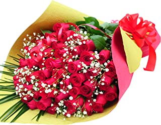 還暦祝いプレゼント 赤バラ花束 サンモクスイ手作り (かすみ草付き赤バラ60本)