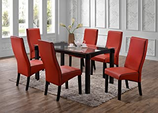Kings Brand Furniture - Rectangle 7 Piece Kitchen Dining Set, Glass Top Table & 6 Chairs, Red