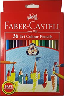 Faber-Castell 36 Colors Tri/Triangular Easy Grip Colored Pencils Pre-sharpened for Kids and Adult Coloring Book,Ideal for Christmas Gifts (Pack of 36)