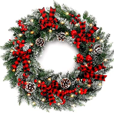 COCOBOO 22 Inches Christmas Wreath with 50 Lights Artificial Pine Wreath Indoor or Outdoor Christmas Decoration