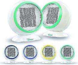 Bimar Mini Calefactor Electrico S501COEU, Calentador de Ventilador Eléctrico de 500W a Bajo Consumo de Energia, Cuerpo de Plástico con Anillo de Color, Verde-Amarillo-Azul-Púrpura, Práctico y Fácil de Instalar