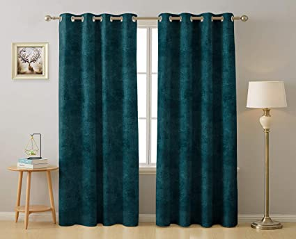 Buy Rayna Decor Suede Velvet Texture Eyelet Long Door Curtains, (4.5 x 9  Feet) ,Pack of 2,Turkish Blue Online at Low Prices in India - Amazon.in