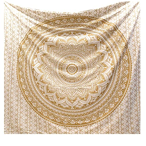 raajsee Glittering Gold Tapestry Wall Hanging Mandala-Bohemian Room Decor-Indian Cotton Throw Hippie Tapestries - Boho Bedding White Golden Queen bedspread 210x220 cms-Meditation Yoga Mat Rugs
