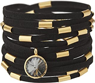 SEA Smadar Dazzling Design! Handmade, Wrap Around, Black Suede Leather Bracelet Necklace With 24k Gold Plated Elements And Swarovski Crystal