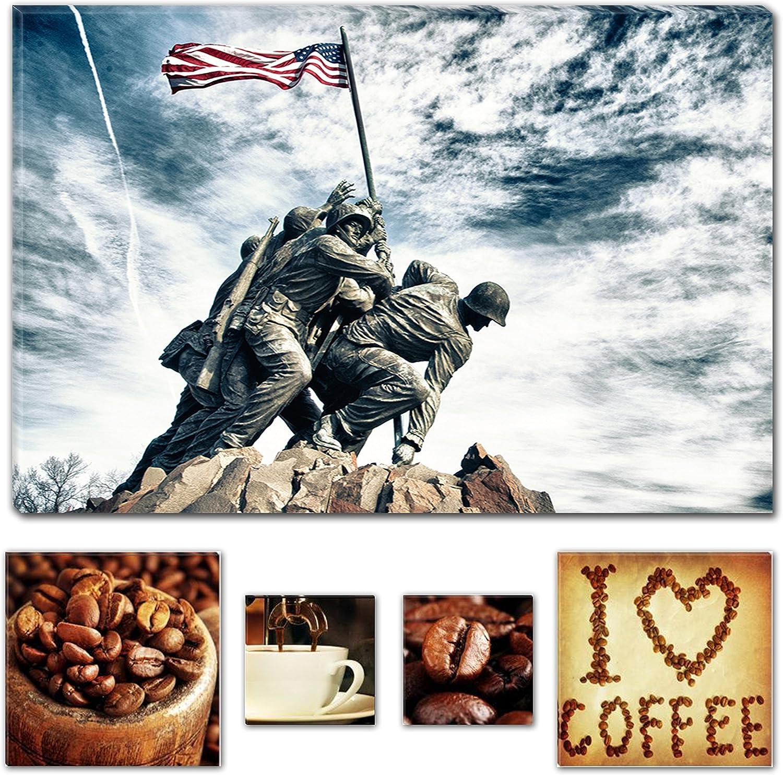 Eco Light Art Wand Leinwand Bundle Iwo Jima Memorial USA Nation, 60 x 90 CM und Lover Kaffee Collage Set von 4, Modernes Dekor Kunstwerk Gerahmte Wand Kunst 100% Ursprüngliche Fertig zum Aufhängen B074F4N2M6 | Schöne Kunst