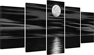 Wieco Art Sea White Full Moon in Night Canvas Print Wall Art Black and White Ocean Beach for Living Room Bedroom Kitchen Home Decorations 5 Piece Modern Abstract Artwork
