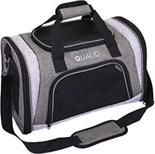 Qualid Luxury Pet Carrier Bag- Airline Approved Soft Sided Foldable Bag, Maximize Safety and Protection for Small Dogs and Cats, Reduce Pet Fear and Anxiety with Opening Pockets, Long Lasting and Dura
