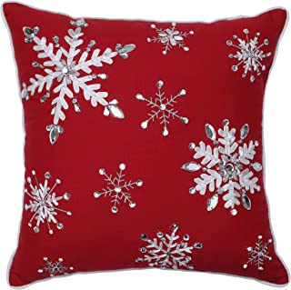 Pillow Perfect Jeweled Christmas Snowflake Embroidered with Silver Welt Cord Decorative Pillow, 16