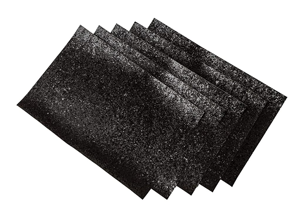Chunky Glitter Fabric Sheets Shiny Craft Faux Leather Canvas Back Assorted Colors Sparkle DIY Vinyl Material 5Pcs (Black)