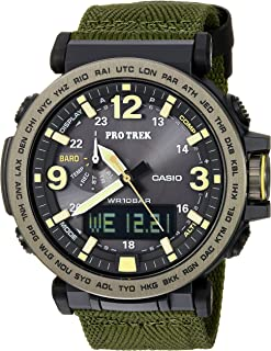 Men's 'PRO TREK' Quartz Resin and Cloth Casual Watch, Color:Green (Model: PRG-600YB-3CR)