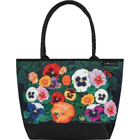 VON LILIENFELD Handtasche Damen Motiv Blumen Stiefmütterchen Shopper Maße L42 x H30 x T15 cm Strandtasche Henkeltasche Büro
