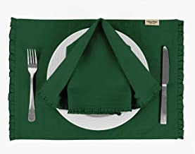 Vargottam Dark Green Solid Home Décor Washable Frill Placemats & Napkins Table Decor Dining Mats-Pack of 6