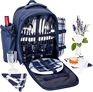 Picnic Basket Backpack Set for 4 with Insulated Cooler Compartment, Detachable Wine Bottle Holder, Fleece Blanket, Flatware, Plates, Salt and Pepper Shakers, Cutting Board, and Wine Glasses, Blue