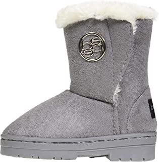 bebe Toddler Girls Winter Boots with Fur Trims Slip-On Mid-Calf Fashion Shoes