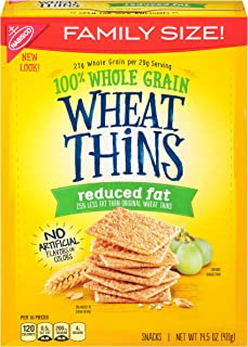 Wheat Thins Reduced Fat Crackers - Family Size, 14.5 Ounce (Pack of 6)