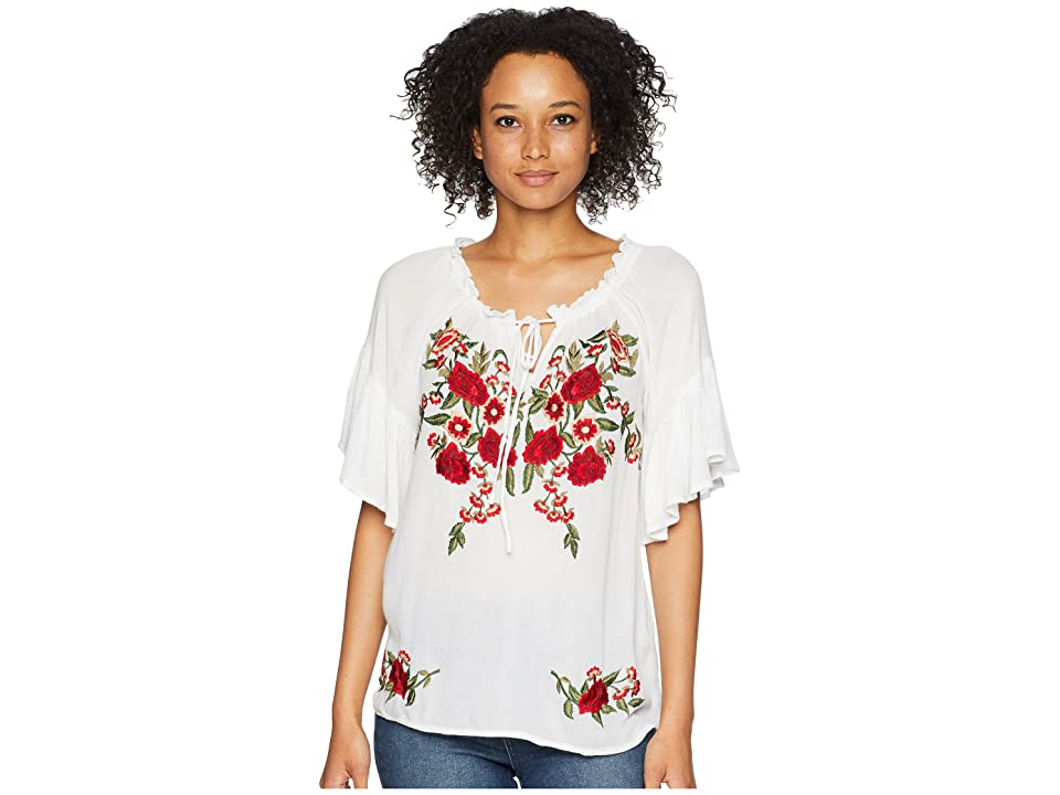 Women's 70s Shirts, Blouses, Hippie Tops Scully Omalley Beautiful Embroidered Summer Top White Womens Clothing $80.00 AT vintagedancer.com