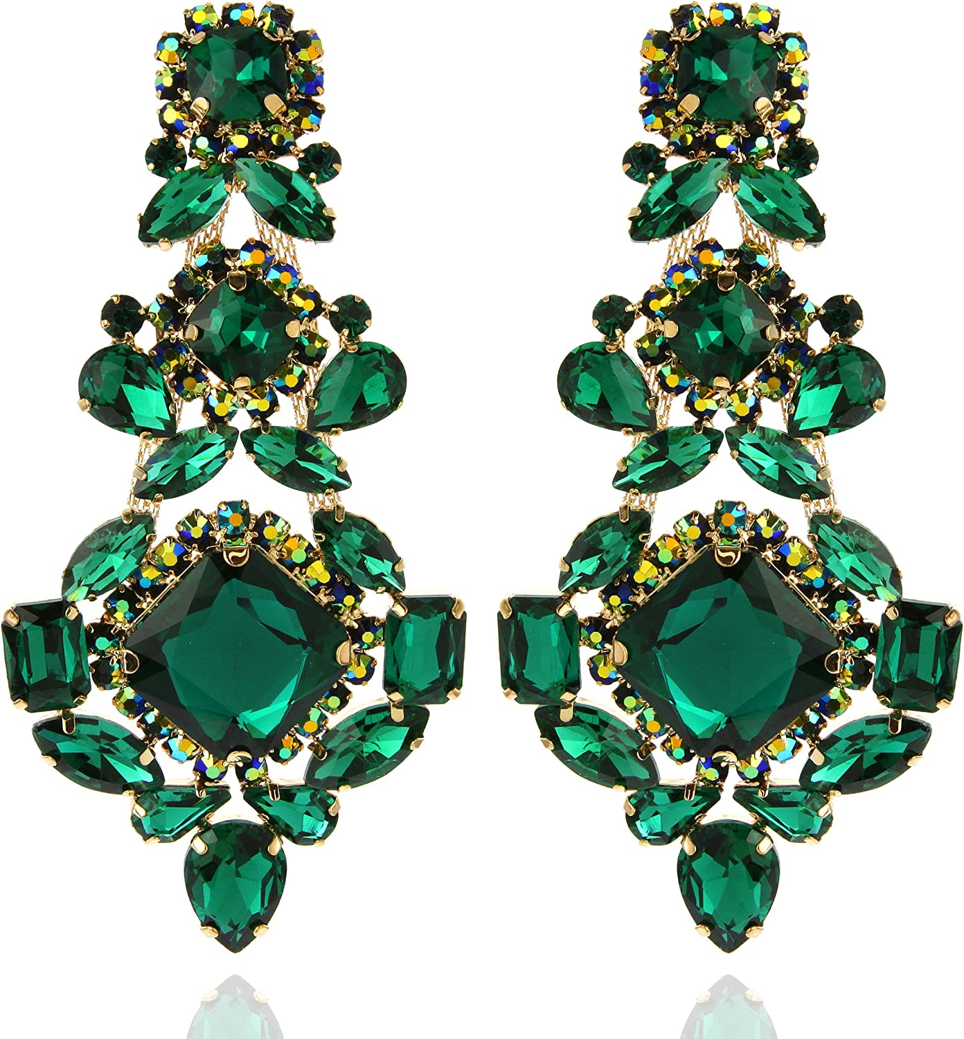 SP SOPHIA COLLECTION Women's Stunning Large Austrian Crystal Medieval Inspired 3 Tiered Clip On Earrings