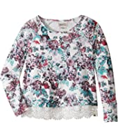 Lucky Brand Kids - Floral Long Sleeve Terry Shirt with Lace Trim (Big Kids)