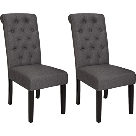 Amazon Basics Classic Fabric Tufted Dining Chair with Wooden Legs - Set of 2, Charcoal