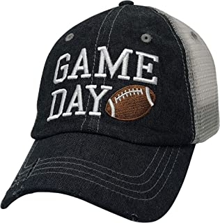 Cocomo Soul Game Day Football Embroidered Mesh Trucker Style Hat Cap Football MOM Gift Mothers Day Dark Grey