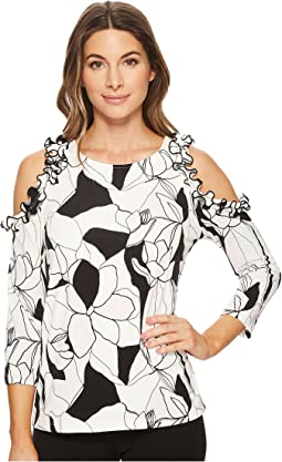 Ivanka Trump - Matte Jersey Printed Ruffled Cold Shoulder Top