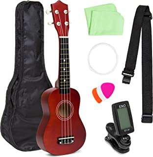 Best Choice Products 21in Beginner Basswood Ukulele Starter Kit w/Nylon Carrying Case, Strap, Picks, Cloth, Clip-On Tuner, Extra String (Brown)