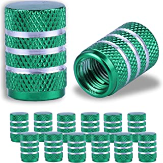 JUSTTOP Car Tire Valve Stem Caps, Air Caps Cover, Universal for Cars, SUVs, Bike, Trucks and Motorcycles, 12pcs-Green