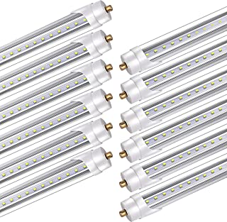 BBOUNDER Lighting 8FT T8 LED Tube, 45W, FA8 Single Pin Base, 5200LM 6000K, Dual Ended Power, Ballast Bypass,ETL Listed, T8 T10 T12 Fluorescent Light Bulbs (120W) Replacement, Pack of 12