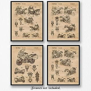 Original BMW Motorbikes Patent Art Poster Prints, Set of 4 (8x10) Unframed Photos, Great Wall Art Decor Gifts Under 20 for Home, Office, Garage, Man Cave, Shop, Student, Teacher, Motorcycles Tour Fan