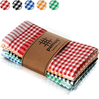 pamuq® paños de cocina de algodón 100% | paquete de 5 | 45 x 65 cm a cuadros | con colgador | diferentes colores | trapos de cocina | toallas de cocina