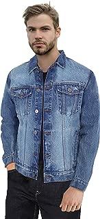 Mens Denim Jacket Washed Casual Trucker Jean Jacket for Men
