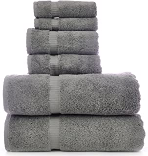 Luxury Hotel & SPA Towel 100% Genuine Turkish Cotton Bath Towel Bundle (Gray, 6-Piece Towel Set)