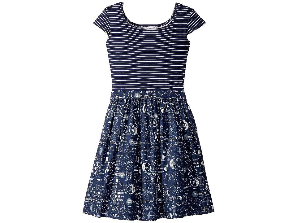 fiveloaves twofish Maddy Mathematician Dress (Big Kids) (Navy) Girl