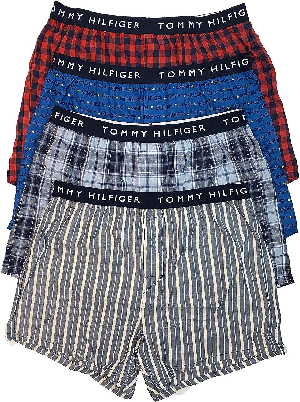 Tommy Hilfiger Men`s Slim Fit Woven Boxers 4 Pack