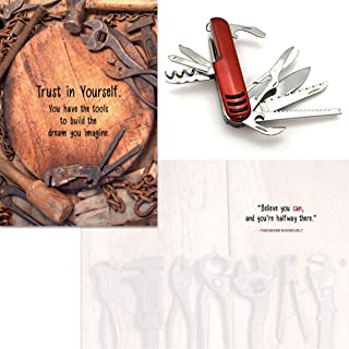 Smiling Wisdom - Red Multifunction Compact Pocket Army Knife Gift Set - Believe You Can Gift Set - You Have the Tools to B...