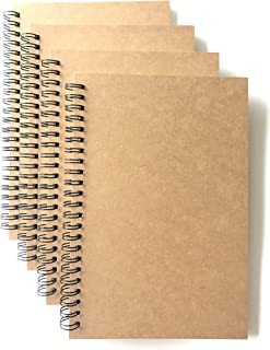 VEEPPO A5 Wirebound Notebooks Bulk Journals Spiral Steno Pads Blank/Lined Kraft Brown Cardboard Cover Thick Cream Writing Pad Sketchbook Scrapbook Album (Lined White-Pack of 4)