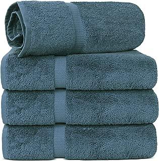 TURKUOISE TURKISH TOWEL % 100 Turkish Cotton Luxury and Super Soft Towels (Bath Towel 4PK, True Blue)